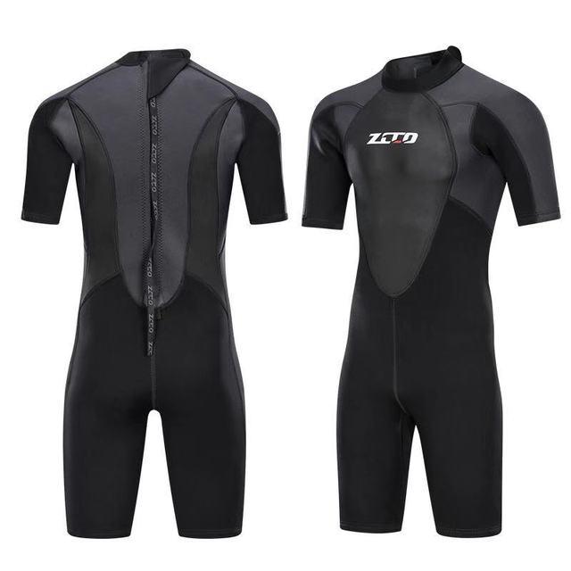 גברים חליפת צלילה שורטי 3mm Neoprene חורף חזרה Zip בגד ים לשחייה שנורקלינג גלישת קיאקים צלילה חליפה