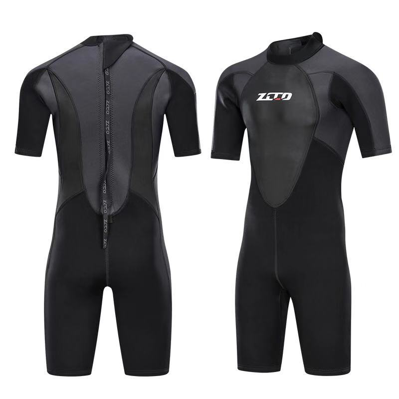 Image 1 - Men Wetsuit Shorty 3mm Neoprene Winter Back Zip Swimsuit for Swimming Surfing Snorkeling Kayaking Scuba Diving Suit-in Wetsuit from Sports & Entertainment