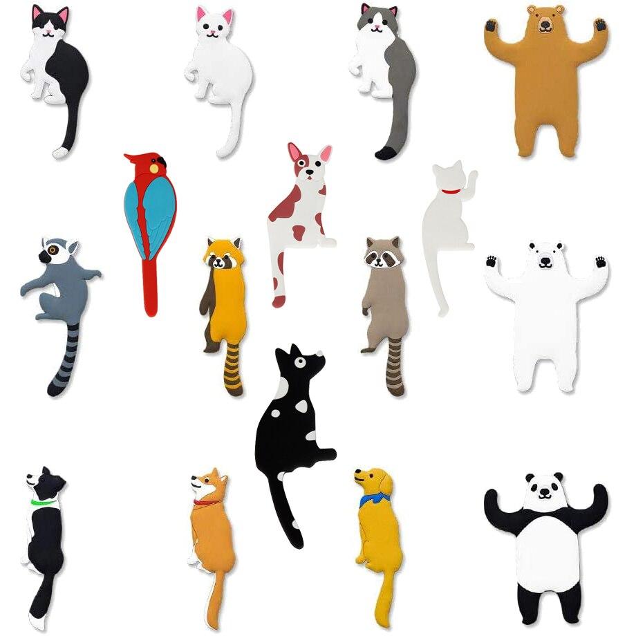 Cartoon Animal Wall Decorative Hook Cat Dog Bird Bear Raccoon Whiteboard Sticker Refrigerator Kids Gifts Home Decoration Hook