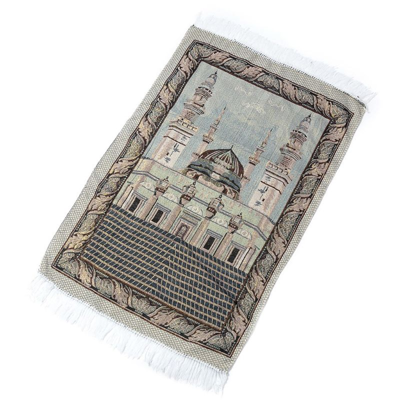 Portable Muslim Prayer Rug Simply Print Polyester Braided Mat Pouch Travel Home Waterproof Blanket 65x110CM