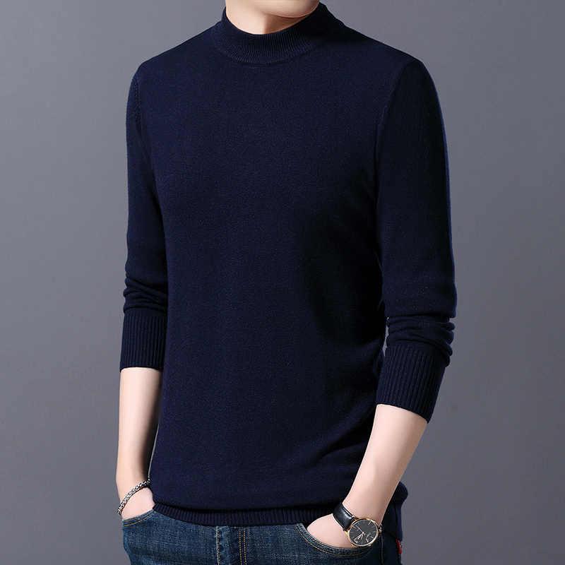 2020 새로운 패션 브랜드 스웨터 망 풀오버 절반 터틀넥 슬림 맞는 점퍼 knitwea 한국어 스타일 캐주얼 의류 남성