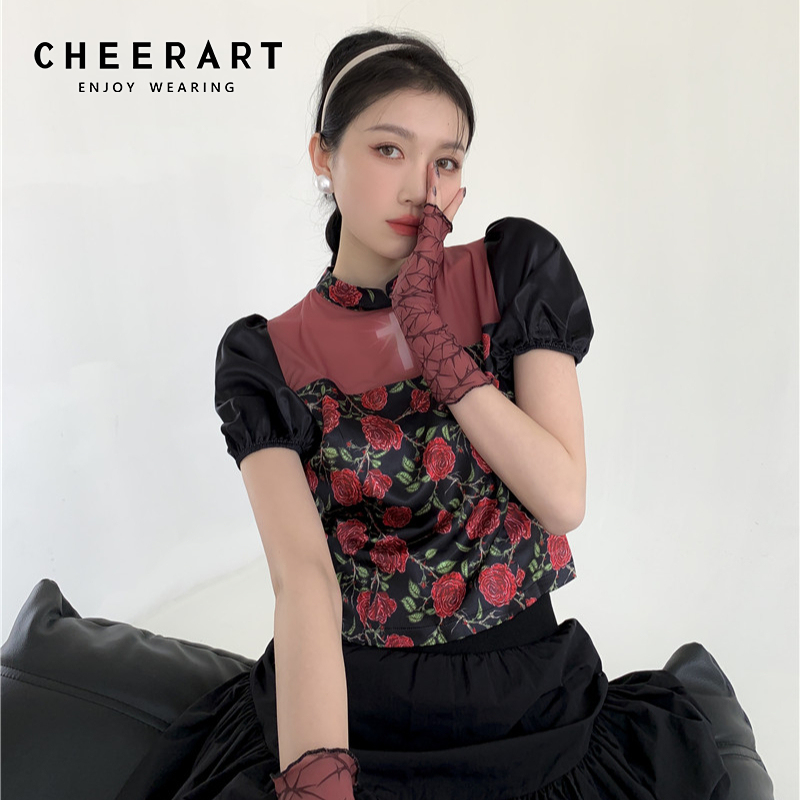 CHEERART Summer 2021 Puff Sleeve Cheongsam Top Rose Floral Print Blouse Crop Top Women Patchwork Peplum Ladies Top Fashion