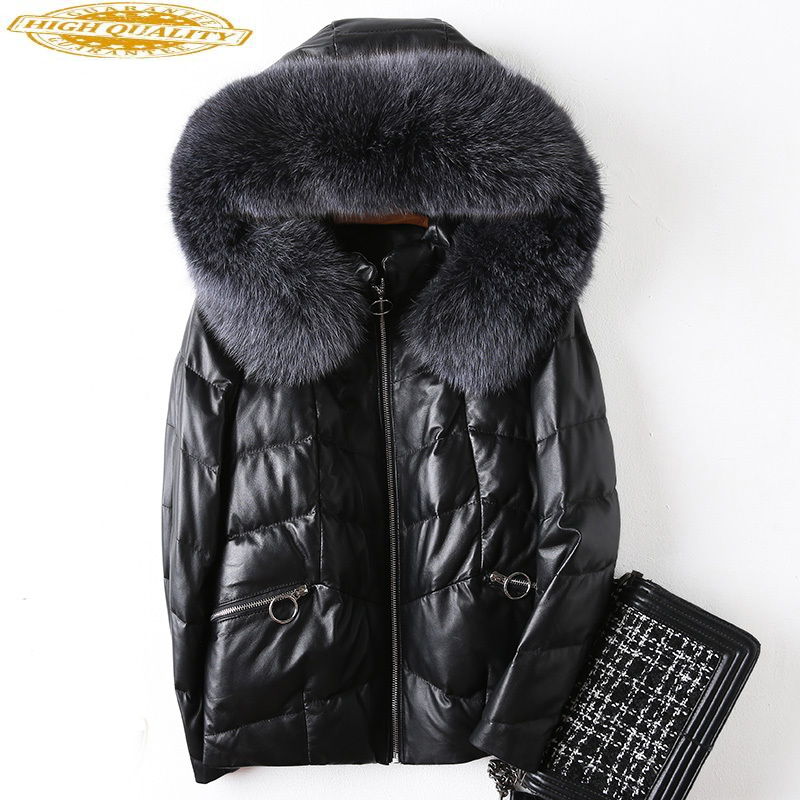Genuine Leather Jacket Winter Jacket Women Fox Fur Collar Down Jackets For Women Real Sheepskin Coat Chaqueta Mujer MY