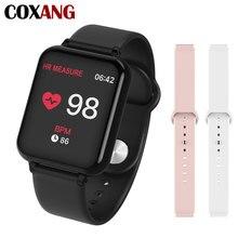 Smartwatch coxang b57, com medição de pressão, monitor cardíaco, à prova d água, pedômetro, para senhoras e homens