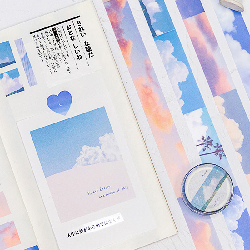 1Pc Cute Cloud Washi Tape Kawaii Sky Landscape Adhesive Tape Decor Masking Tapes For Kids Scrapbooking DIY Supplies Stationery
