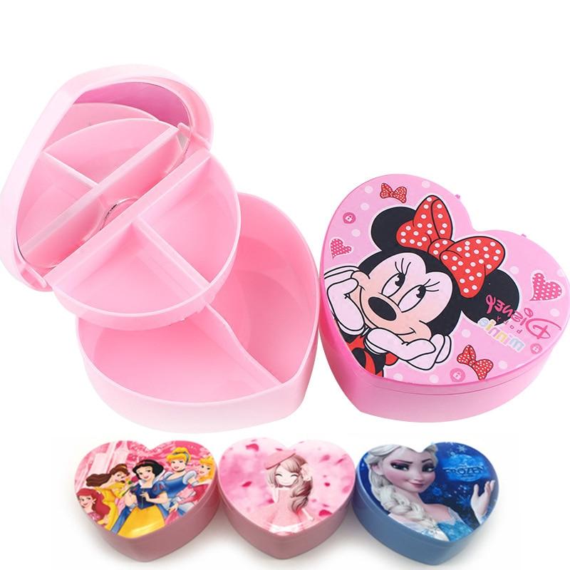 Girls Jewelry Box Heart-shaped Children Cartoon Princess Cosmetic Case Cosmetics Storage Box Necklace Tiara Box Dressing Mirror