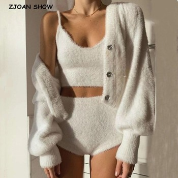2020 Vintage Set Shaggy Korea Style White Cardigan Furry Single-breasted Button Tank Top Knitted Sweater Jumper 1 Set 1