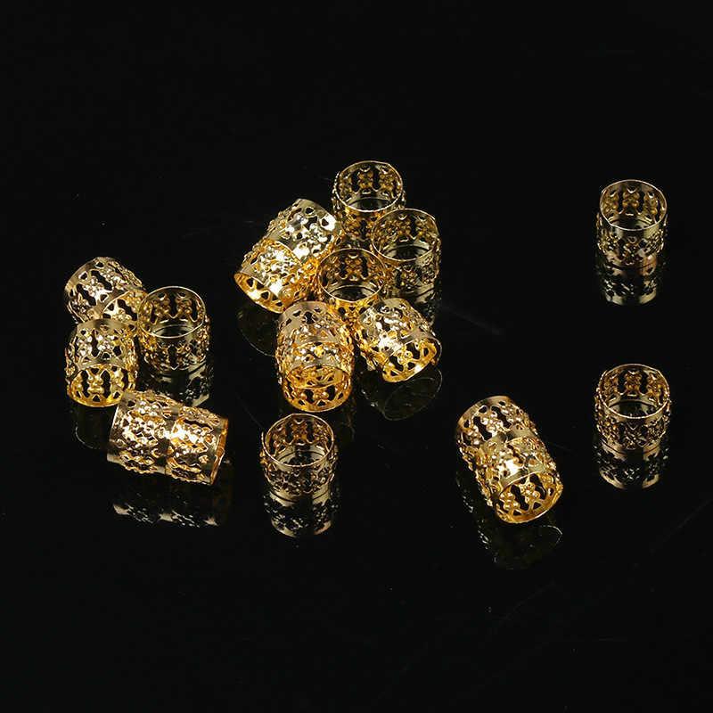 100 pièces/lot or et argent 8x9mm Micro cheveux redoute tresses serrure Tube perles réglable manchettes Clips pour cheveux accessoires outil