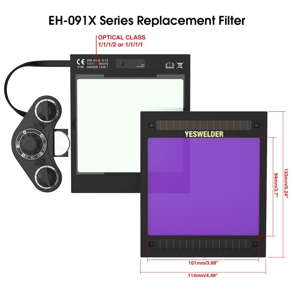 YESWELDER Solar Auto Darkening Filter Replaceable ADF For Welding Helmet/Welding Mask Of EH-091X Series Without Battery