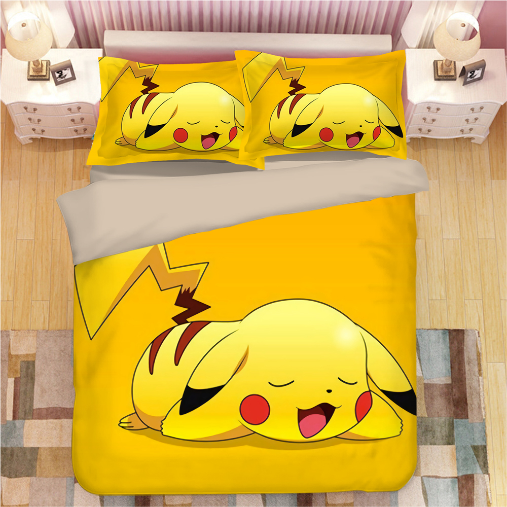 3D Bedding Sets Pokemon Pikachu Print Duvet Cover Set single double queen king bedclothes with Pillowcase anime Home Textiles