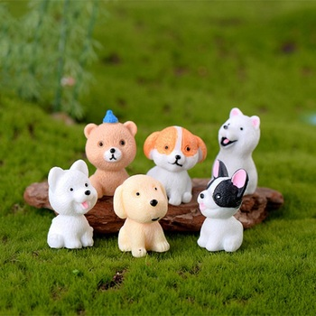 Animals Miniature Cute Ornaments For Home Office Kids Gift 1pcs Mini Dog Figurines Model Pet Doll Simulation Crafts Toy 2020 image