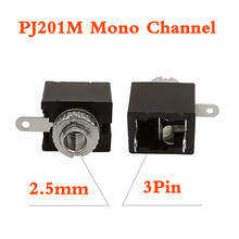 2/5/10Pcs PJ-201M 2.5mm Mono Channel Audio Female Jack Connector PJ-201M 3 Pin DIP Headphone mono audio Socket Connector PJ201