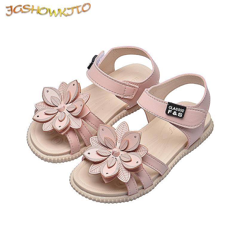 JGSHOWKITO Girls Sandals Fashion Brand Soft Kids Beach Sandals With Flowers Sweet Princess Children Floral Sandals High Quality