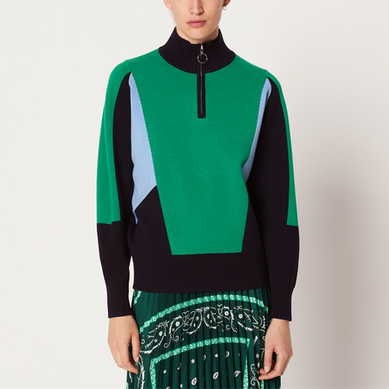 Runway Turtlececk Contrast Color Zipper Sweater Winter Jumpers Women Pullovers Office Work Wear Female Oversized Knitted Sweater