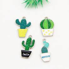 Cactus Pendant Moon Accessories Mixed Enamel Plant Potted Cactus Charms Necklace Pendant(China)