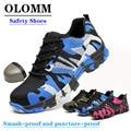 Sapatas de trabalho de aço de malha de ar sapatos de trabalho sapatos de segurança indestrutíveis anti piercing botas de segurança