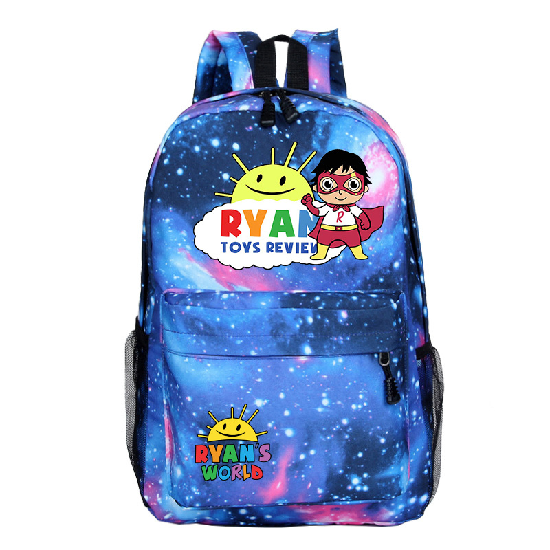 Ryan toys review Backpack Bag Zipper Casual School Bags Students Book Bag Boys Girls Fans Black Cartoon Travel Laptop Bag image