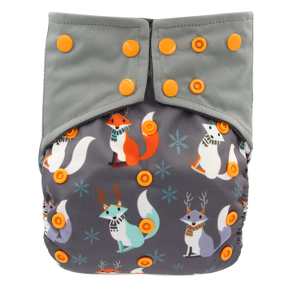 Ohbabyka One Size Adjustable AIO Diapers Bamboo Charcoal Diapers Waterproof Printed PUL Baby Cloth Diaper Reusable Cloth Nappies