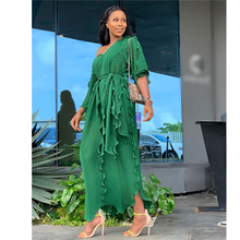Длина 152 см, стиль, классическое Африканское женское платье, Дашики, модное плиссированное платье с воланом, свободное платье с v-образным вырезом, платье со средним рукавом, свободный размер