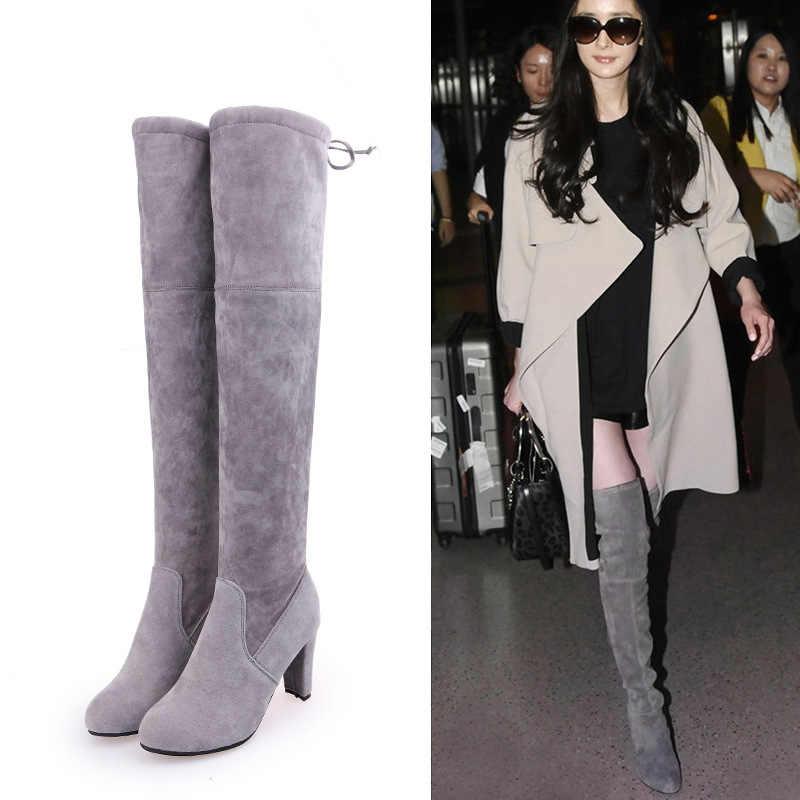 CEVABULE 2019 ต่างหูผู้หญิงฤดูใบไม้ผลิยาวรองเท้าบูทรองเท้ารองเท้าบูทสูง 8 ซม.รองเท้าส้นสูงคลาสสิกสีเทาสีดำจุด Toe DROP. HYKL-9527