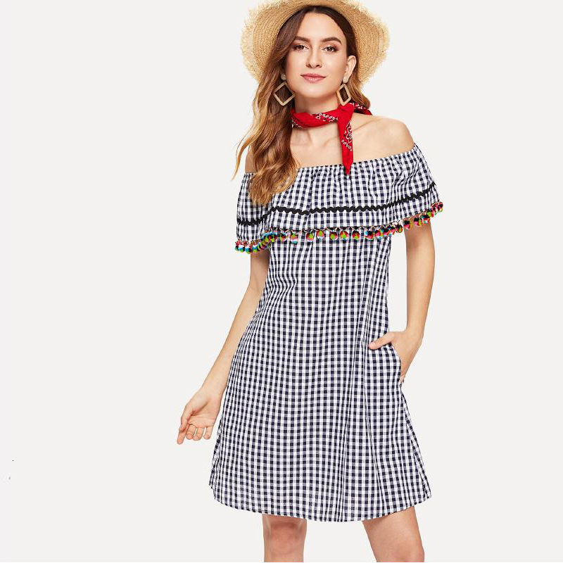 <font><b>Sexy</b></font> Off Shoulder Plaid <font><b>Dress</b></font> Summer Women Holiday Beach Party <font><b>Dress</b></font> Elegant Backless Tassel Sleeveless Flowy <font><b>A</b></font> <font><b>Line</b></font> Mini <font><b>Dress</b></font> image