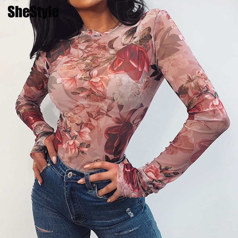 Shestyle Rose Print Mesh See Through Sexy Body Women Long Sleeve O Neck Autumn Flower Bodycon Pink Fashion Bodysuits Ladies 2019