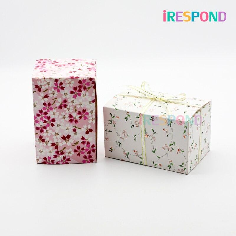 50 pièces papier boîte cadeau emballage avec ruban Cookie bonbons cosmétique boîte de faveur de mariage fête danniversaire Biscuit fleur de cerisier modèle
