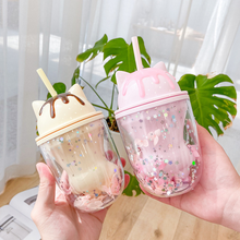 Double Layers Cat's Paw Plastic Water Bottle With Straw Korean Sweet style Creative Gift Mug For Milk Coffee Tea Cup