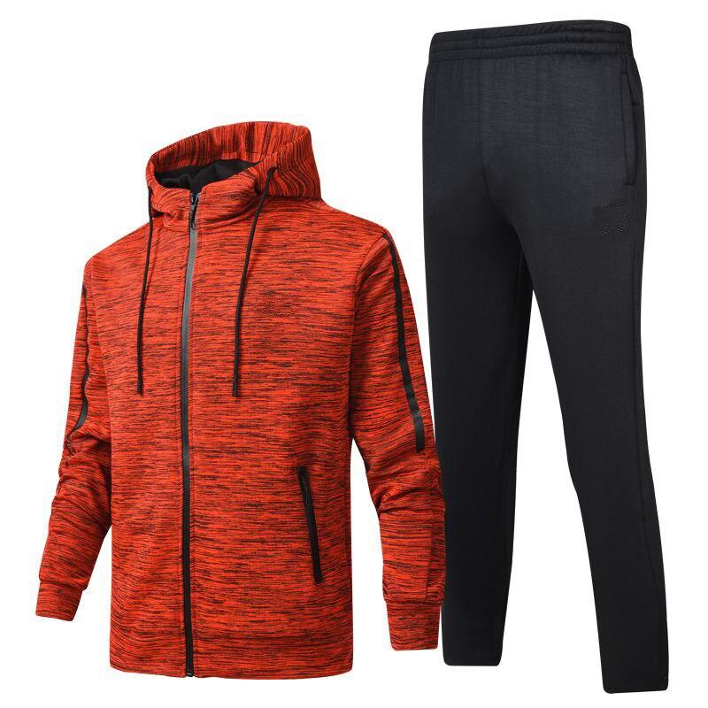 Men Leisure Sports Suit Spring And Autumn Fashion Coat Men Polyester Yarn Sports Set Long-sleeve Sweater Set