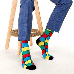 Image 4 - SANZETTI yeni sıcak renkli erkek çorap rahat penye pamuk yüksek kaliteli kaykay komik mutlu düğün 12 çift/grup elbise çorap