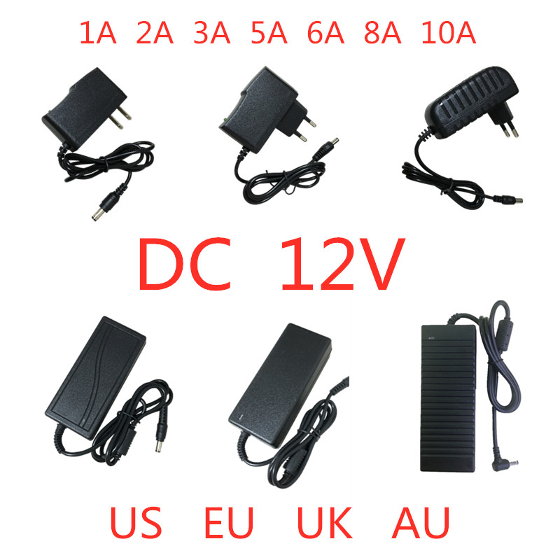 AC 100V-240V DC 12V 1A 2A 3A 5A 6A 8A 10A Power Supply Adapter 12 V Volt lighting transformer Converter For LED strip light CCTV title=