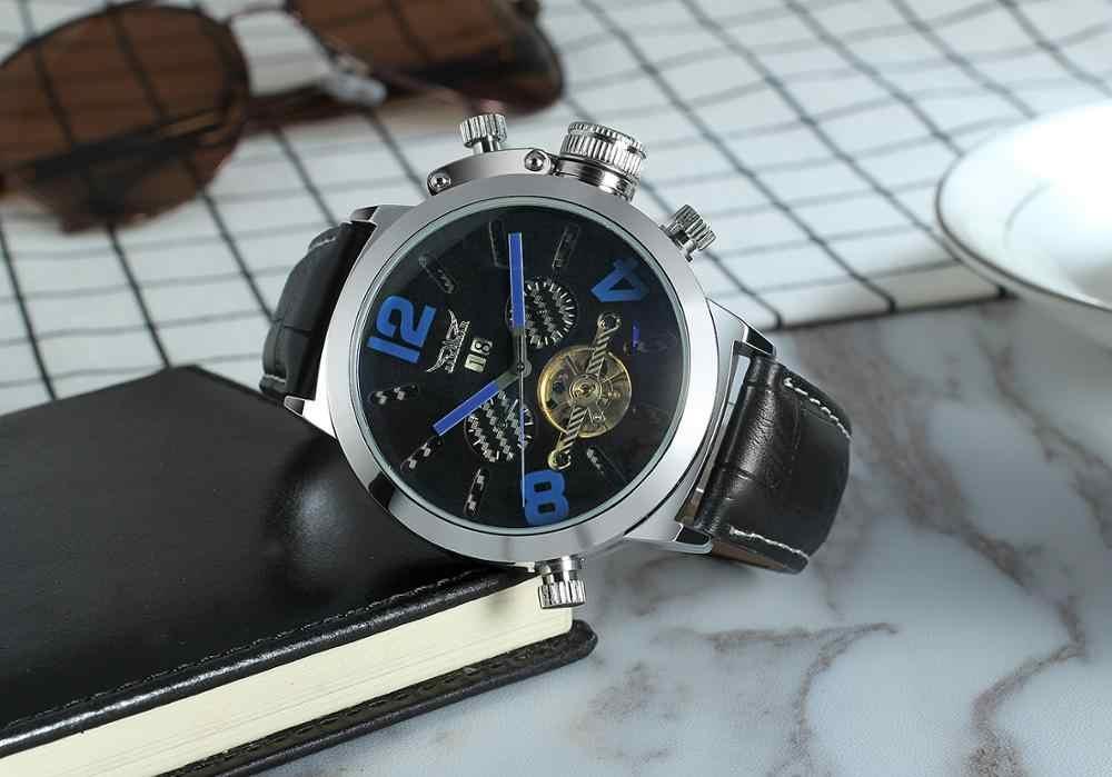 JARAGAR レーススポーツ軍事腕時計ファッションブルーダイヤル 50 ミリメートルビッグダイヤルデザインメンズウォッチトップブランドの高級自動時計