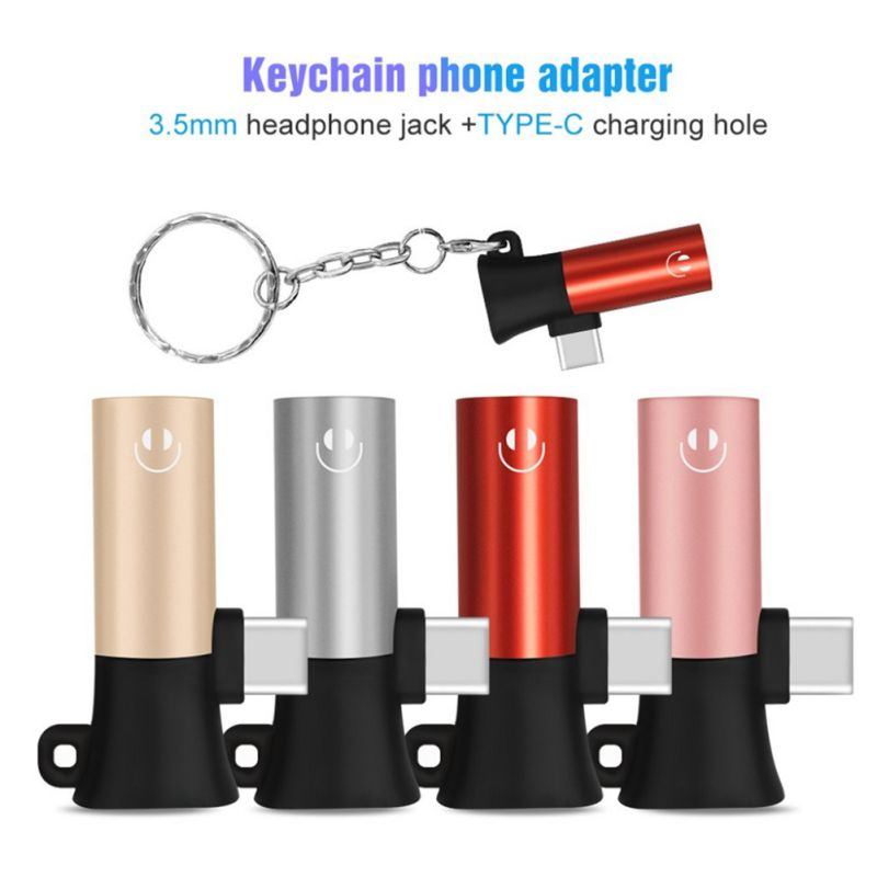 Male To Female Adapter Charge And Headphone 2 In 1 Type-C To 3.5mm Headphone Jack Audio USB C Cable Keychain Phone Adapter