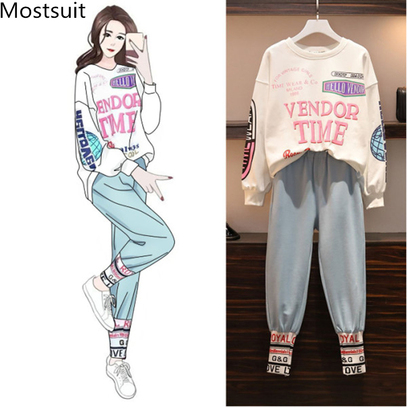 L-4xl Casual Korean Two Piece Sport Sets Outfits Women Plus Size Letters Print Sweatshirts And Pants Suits Fashion Kawaii Tracksuits Sets