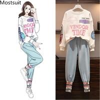 L 4xl Casual Korean Two Piece Sport Sets Outfits Women Plus Size Letters Print Sweatshirts And Pants Suits Fashion Kawaii Tracksuits Sets