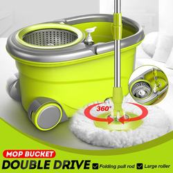 Floor Cleaning Roterende Hand Wassen Squeeze Emmer 2 Gemakkelijk Wringen Fiber Heads Set Rvs Mand Microfiber Spin Mop & emmer
