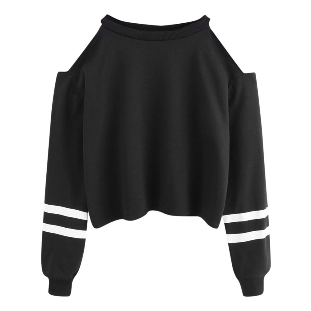 Spring And Autumn New Women's Off-the-shoulder Long-sleeved Short Sweatshirt Round Neck Pullover Casual Sweatshirt Fashion Black