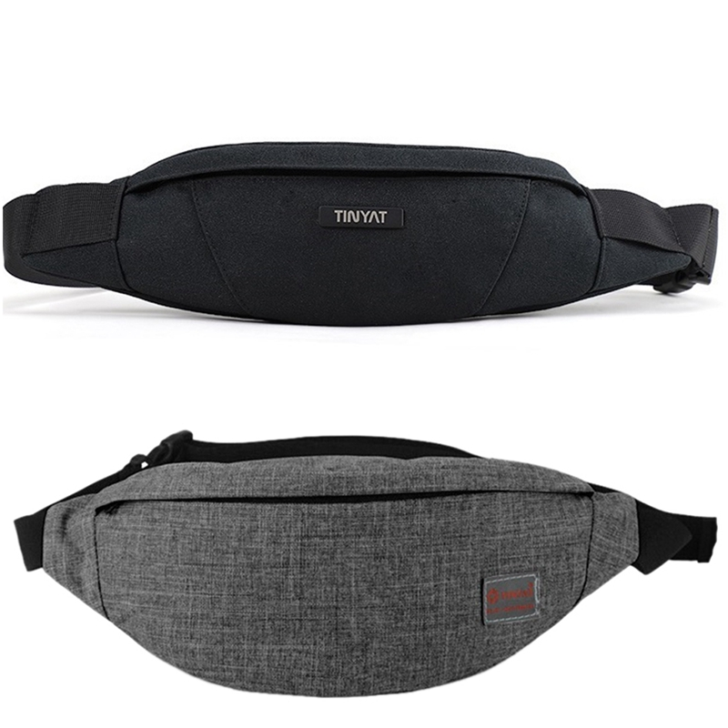 2 Pcs Men Waist Bag Pack Purse Waterproof Canvas Travel Phone Belt Bag Pouch For Men Women Casual Shoulder Fanny Pack Hip