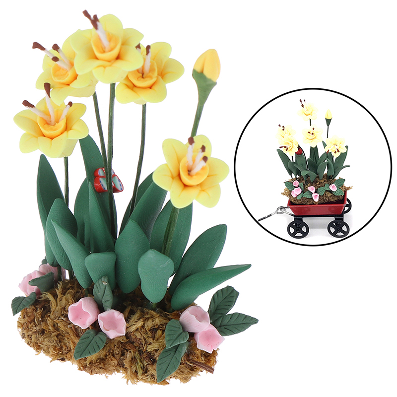 Artificial 1/12 Dollhouse Flower Miniature Exquisite Green Plant Ornament Decor Doll House Accessories Toys For Children Parts