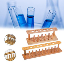 Wooden Test Tube Rack 6 Holes Holder Support Burette Stand Laboratory Test tube Stand Shelf Lab School Supplies 30cm high retort standiron stand with clamp clip lab ring stand equipment laboratory school education supplies