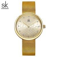 Shengke kobieta zegarki złoty Top marka luksusowy zegarek kobiety zegarek kwarcowy wodoodporny damski panie dziewczyny zegarki zegar