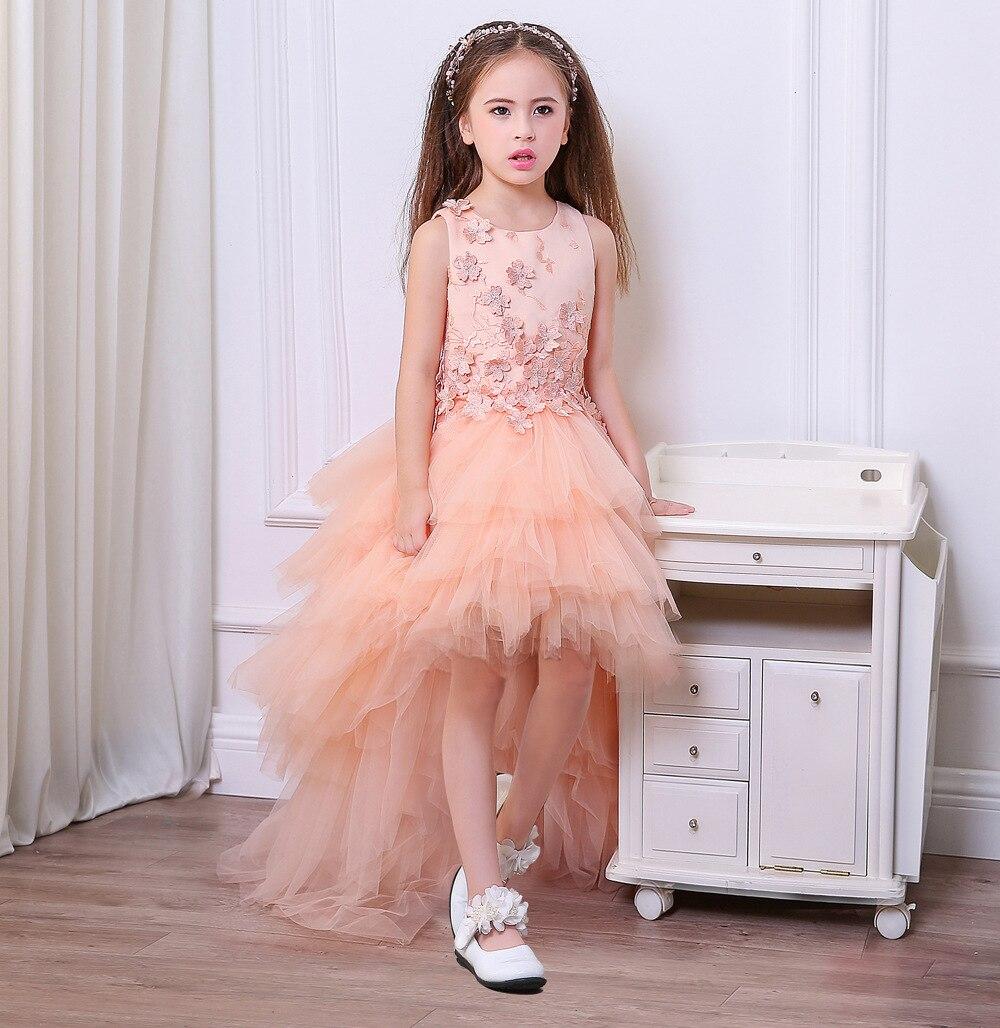 2-Autumn And Winter Front Short Long Back Stereo Embroidery Children Wedding Dress Sleeveless Princess Dress Girls Dress