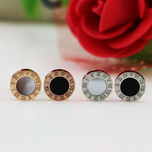 цена на Lady Jewelry Roman Number Stylish Black Circle Stud Earrings Gold-Color 316L Stainless Steel Earrings For Women Earring Party
