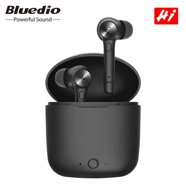 Bluedio Hi bezprzewodowy tws słuchawki douszne bluetooth słuchawki stereo sportowe słuchawki douszne bezprzewodowy zestaw słuchawkowy z etui z funkcją ładowania wbudowany mikrofon