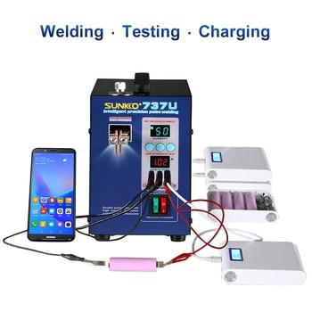 SUNKKO 737U soldador de punto de batería 2.8kw máquina de soldadura en punto de pulso de luz LED con prueba de carga USB para soldadura de batería 18650