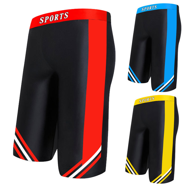 Hu Run Swimming Trunks Men's Short Large Size Boxer Beach Swimming Trousers Industry Quick-Dry Bathing Suit Racing Sports Hot Sp