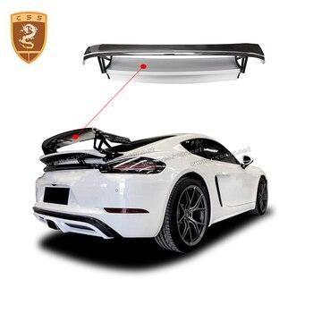 fit for Porsche 718 Cayman Boxster Carbon Fiber Racing Rear Spoiler Car Trunk Trim Wings Car Styling