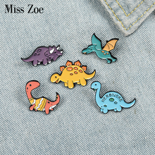 Dinosaur Park Enamel Pins Custom Adventure Brooches Bag Clothes Lapel Pin Beast Badge Wild Animal Jewelry Gift for Kids Friends
