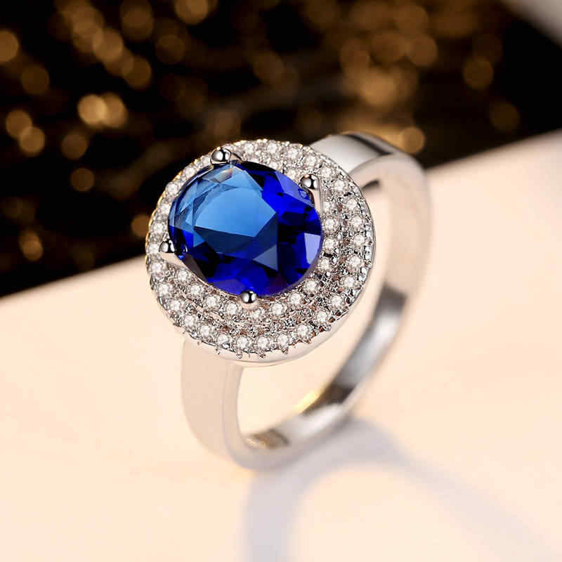 Nuevo Producto de moda joyería de fiesta de vacaciones anillo de señora Redondo multi-taladro zafiro azul AAA pinzas de circón con natural piedras