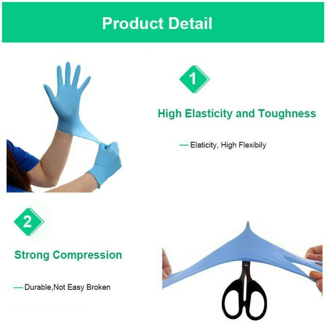 100pcs Disposable Latex Gloves Blue Wear-Resistant Durable Nitrile Rubber Gloves Household Cleaning Experiment Catering Gloves 4